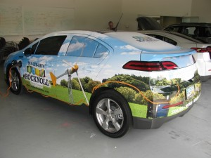 Chevy Volt in full advertising paint job