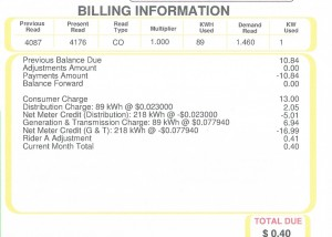 Almost Zero electric bill for last month!